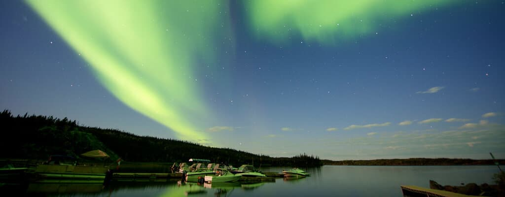 Northwest Territories Nominee Program. Norther lights over lake in NWT